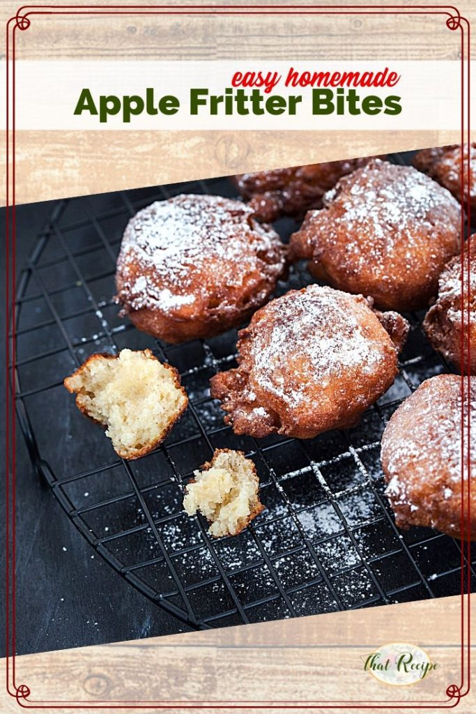 apple fritters on a cooling rack