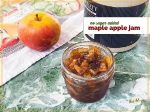 "apple jam in a jar with maple syrup and apple and text overlay ""no sugar added maple apple jam"""
