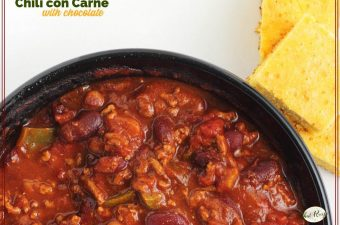 top down view of bowl of chili