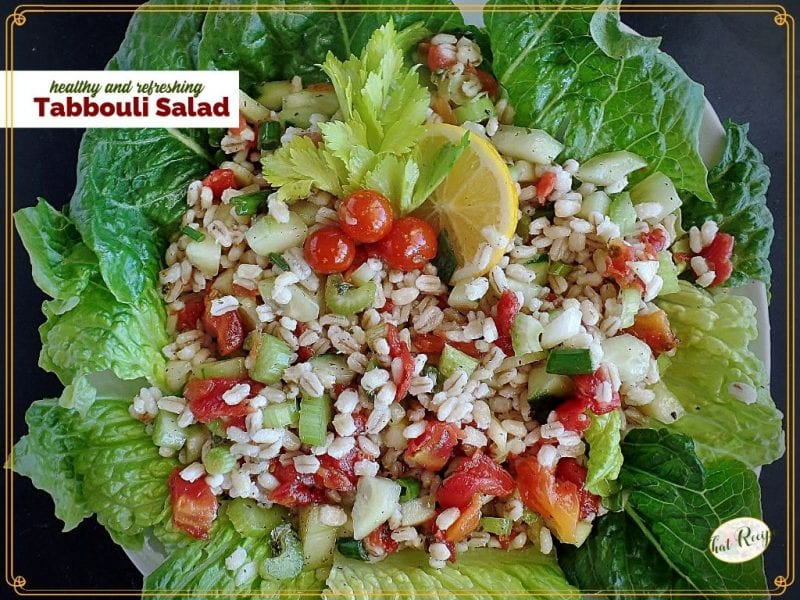 barley tabbouli salad on a bed of lettuce