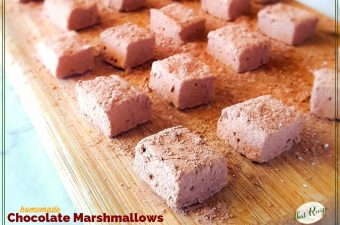 chocolate marshmallows on a cutting board
