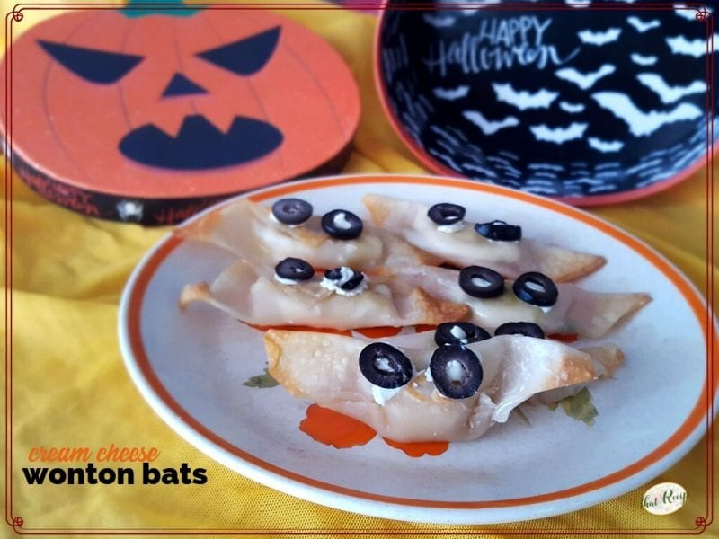 cream cheese wonton bats on a blate