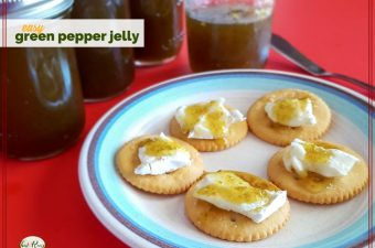 "crackers with brie and green pepper jelly on a plate with jars of jalapeno jelly and text overlay ""easy green pepper jelly"""