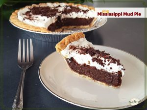 """slice of chocolate pie with whipped cream on a plate with text overlay """"easy Mississippi Mud Pie"""""""