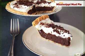 "slice of chocolate pie with whipped cream on a plate with text overlay ""easy Mississippi Mud Pie"""