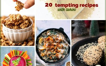 collage of tahini recipes
