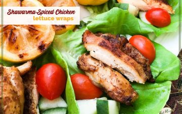 "chicken lettuce wraps on a plate with text overlay ""Shwarma-spiced chicken lettuce wraps"""
