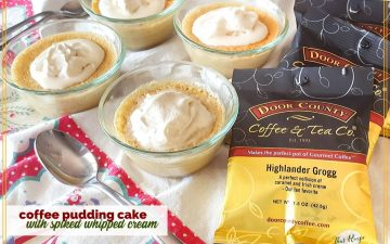 "small coffee pudding cake with bags of coffeewith text overlay ""coffee pudding cake with kahlua whipped cream"""