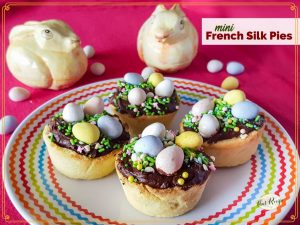 """mini chocolate nest tartlets with text overlay """"mini French Silk Pies"""""""