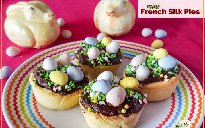 "mini chocolate nest tartlets with text overlay ""mini French Silk Pies"""