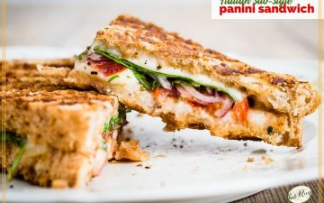 "close up of sandwich with text overlay ""Italian sub panini sandwich"""