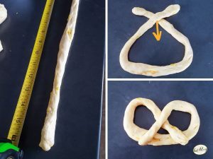 collage of how to roll a pretzel