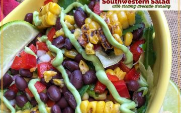 close up of southwestern salad with avocado dressing