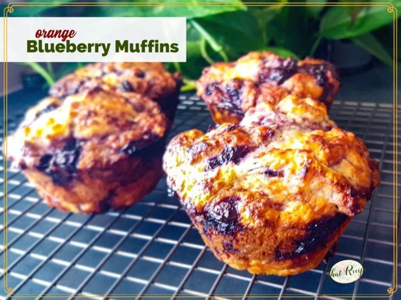 "jumbo muffins on a cooling rack with text overlay ""orange blueberry muffins"""