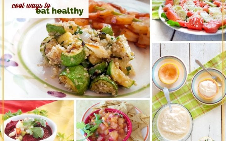 """collage of cooling summer foods with text overlay """"cool ways to eat healthy"""""""