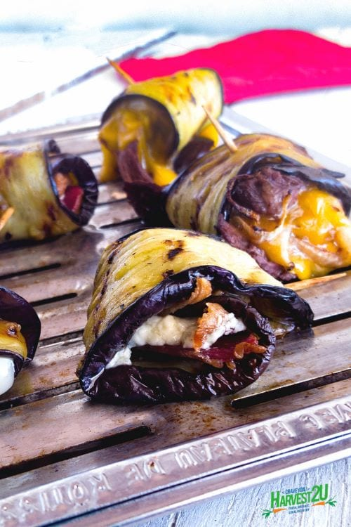 eggplant rolls on a roasting pan
