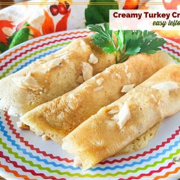 Crepes on a plate with text overlay