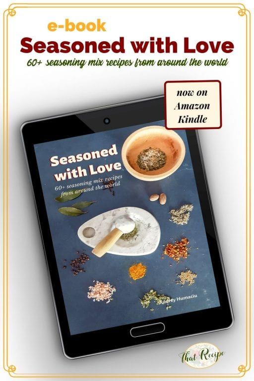 "tablet with ebook on display and text overlay ""Seasoned with Love: 60 seasoning mix recipes from around the world"""
