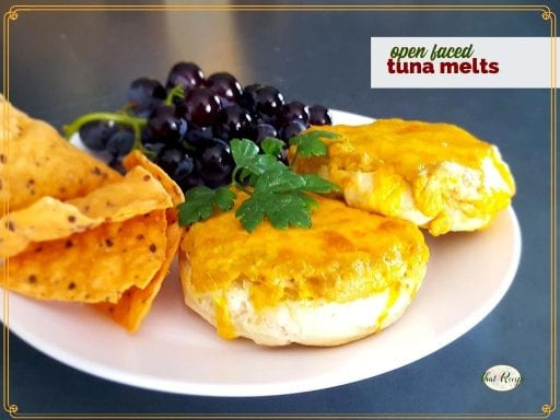 "tuna melt sandwich on a plate with chips and grapes and a text overlay ""open faced tuna melts"""