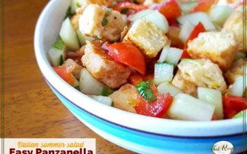 "bowl of Panzanella with text overlay ""Italian Bread Salad: Easy Panzanella"""