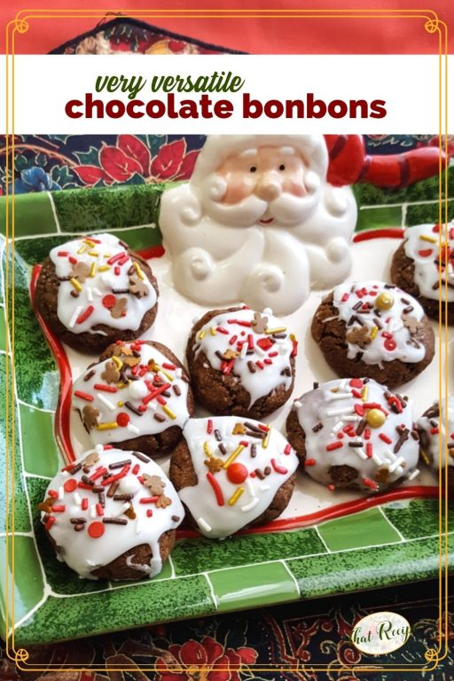 """cookies on a Santa plate with text overlay """"very versatile chocolate bonbons"""""""
