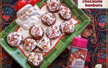"cookies on a Santa plate with text overlay ""very versatile chocolate bonbons"""