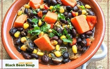 bowl of black bean and sweet potato soup