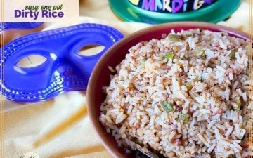 "rice in a bowl with mardi gras masks and hat and text overlay ""easy one pot dirty rice"""