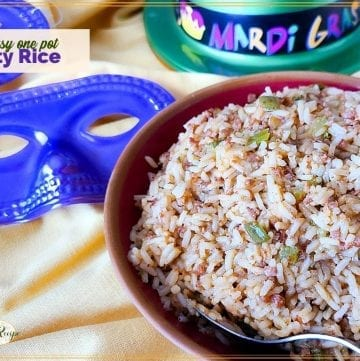 """rice in a bowl with mardi gras masks and hat and text overlay """"easy one pot dirty rice"""""""