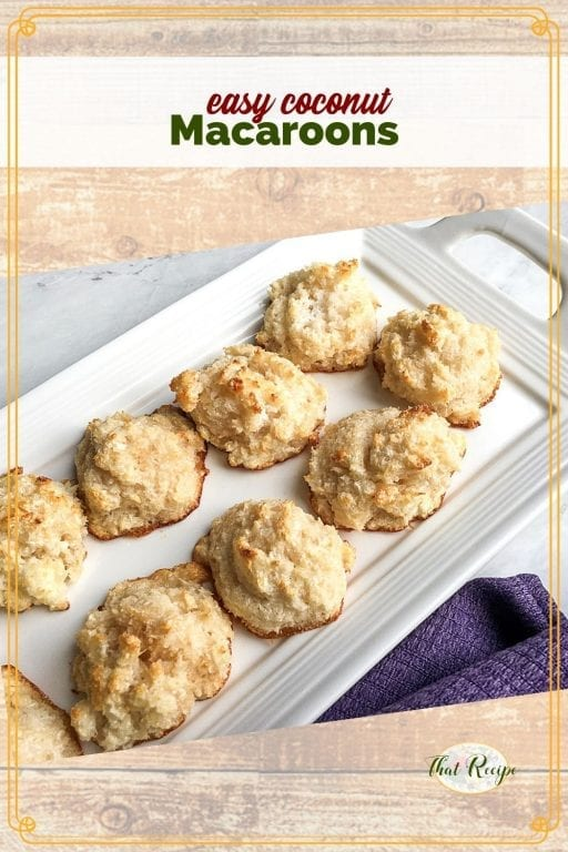 """plate of cookies with text overlay """"easy coconut macaroons"""""""