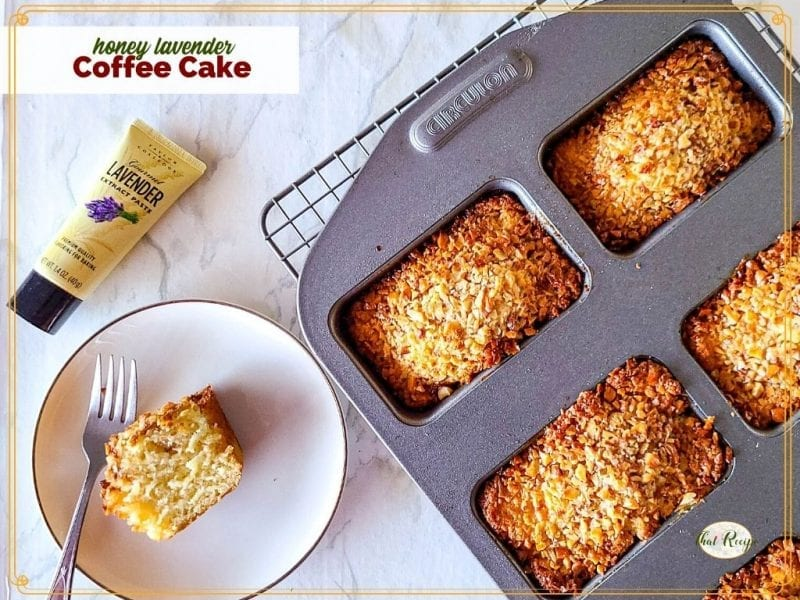 """mini coffee cakes on a plate and in a mini loaf pan with text overlay """"honey lavender coffee cakes"""""""