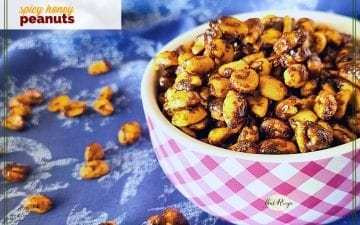 bowl of spiced honey roasted peanuts