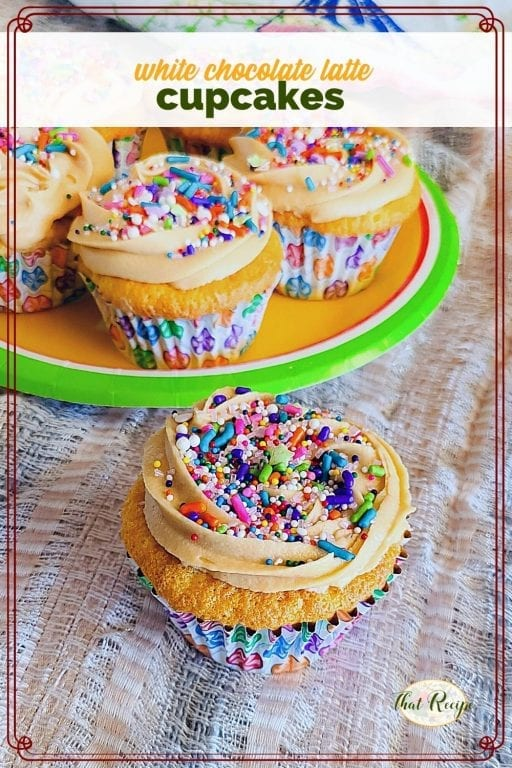 "cupcakes with spring sprinkles and text overlay ""white chocolate latte cupcakes"""