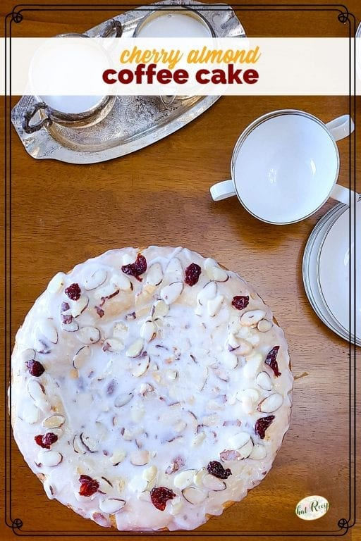 cherry almond coffee cake on a table