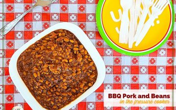 """dish of baked beans with text overlay """"BBQ Pork and Beans in a pressure cooker"""""""