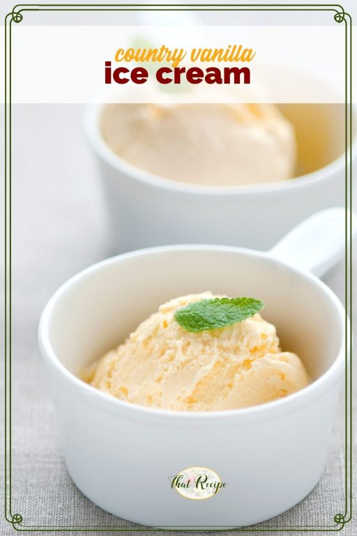 """two bowls of ice cream with text overlay """"country vanilla ice cream"""