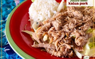 "shredded pork with rice and cabbage on a plate and text overlay ""Pressure cooker kalua pork"""