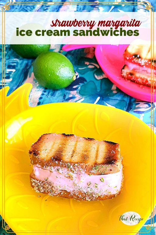 """ice cream sandwich in a bowl with text overlay """"strawberry margarita ice cream sandwiches"""""""