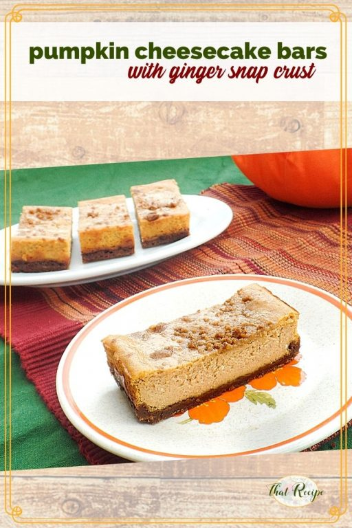 Pumpkin Cheesecake Bars with text overlay