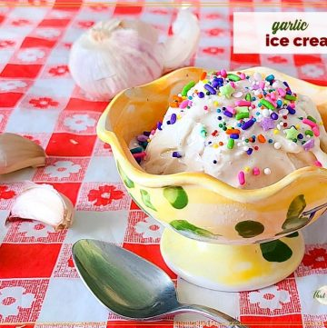 """ice cream topped with sprinkles surrounded by garlic cloves and text overlay """"garlic ice cream"""""""