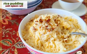"""rice pudding in a bowl topped with nuts with text overlay """"rice pudding with cooked rice"""""""