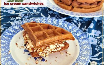 """waffle ice cream sandwich on a plate with text overlay """"turtle waffle ice cream sandwiches"""""""