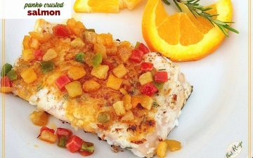 """salmon topped with candied orange peel and text overlay """"panko crusted salmon"""""""