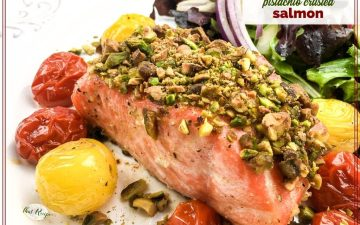 """piece of salmon covered with chopped pistachios with text overlay """"pistachio crusted salmon"""""""